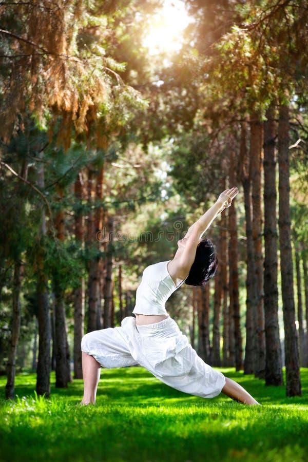 Posa del guerriero di yoga nella sosta fotografia stock libera da diritti