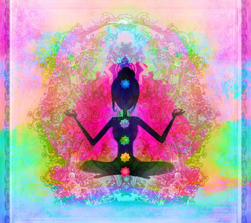 Posa del loto di yoga. illustrazione vettoriale