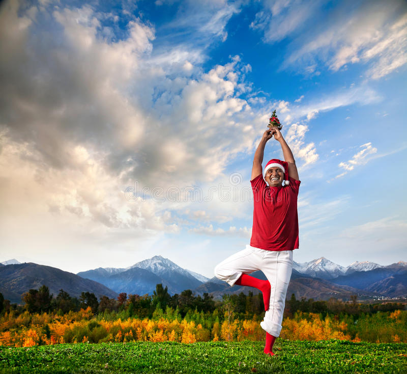 Posa dell'albero di yoga di natale immagini stock libere da diritti