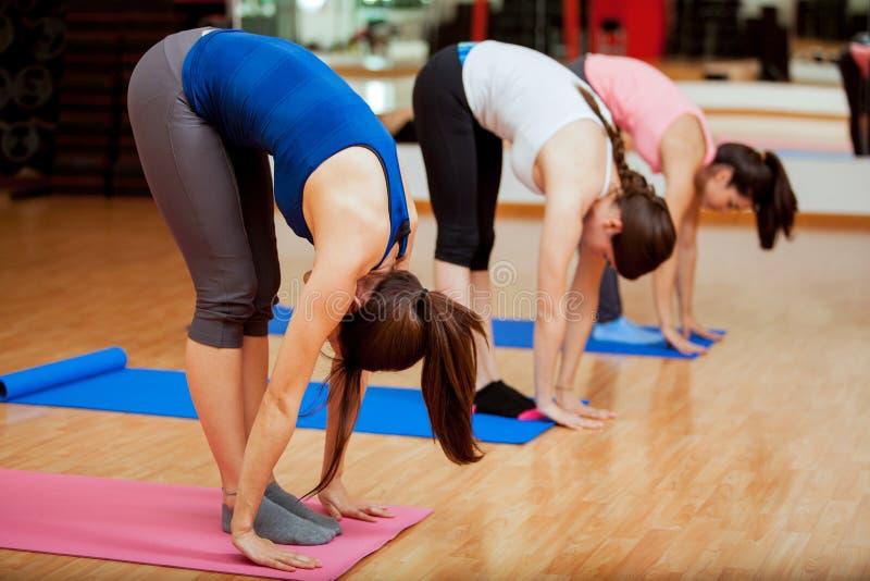 Posa dell'alluce durante la classe di yoga immagine stock