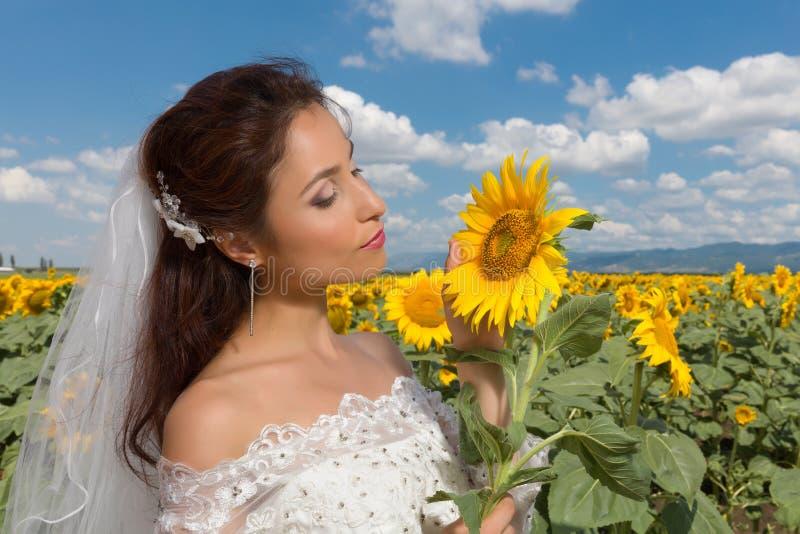 Posa della sposa con il girasole fotografie stock