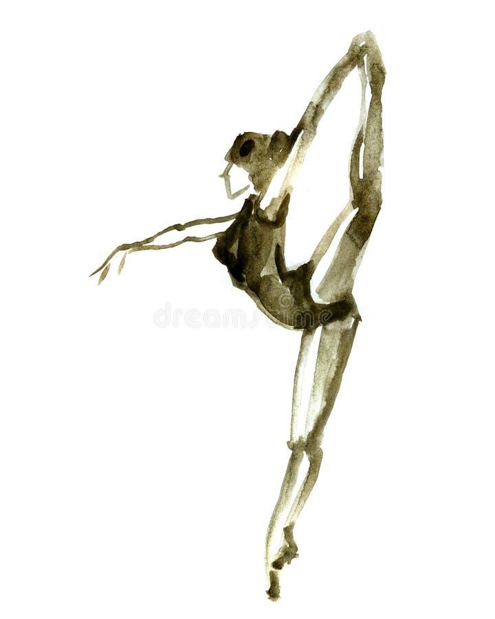 Posa di balletto dell'acquerello Ballerina nel ballo illustrazione vettoriale