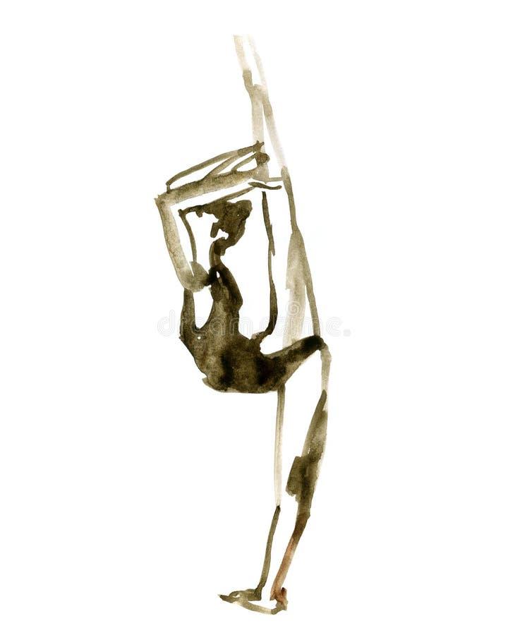 Posa di balletto dell'acquerello Ballerina nel ballo royalty illustrazione gratis