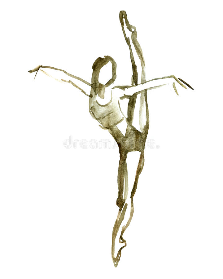 Posa di balletto dell'acquerello Ballerina nel ballo illustrazione di stock