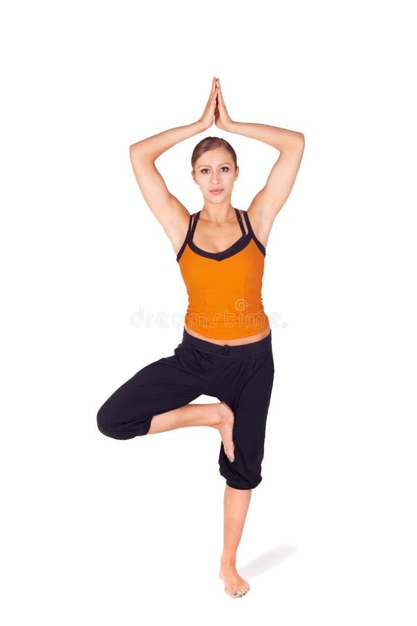 Posa di pratica dell'albero di yoga della donna attraente adatta fotografia stock