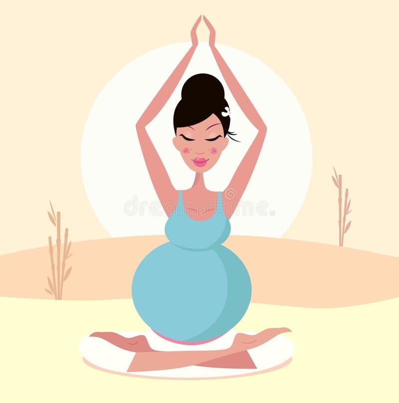 Posa di pratica di yoga della bella mamma incinta illustrazione di stock