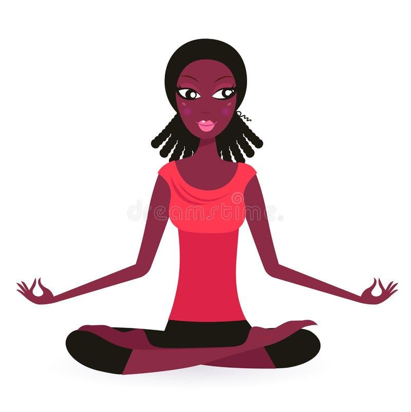 Posa di pratica femminile afro-american di yoga illustrazione vettoriale