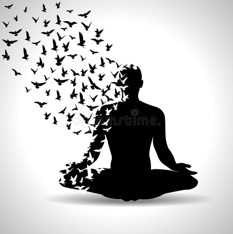 Posa di yoga con gli uccelli che volano dal corpo umano, manifesto in bianco e nero di yoga royalty illustrazione gratis
