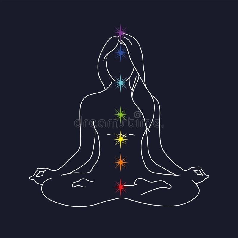 Posa di yoga della donna siluetta di posizione di loto illustrazione di vettore su un fondo blu Meditazione per la rivelazione de illustrazione vettoriale