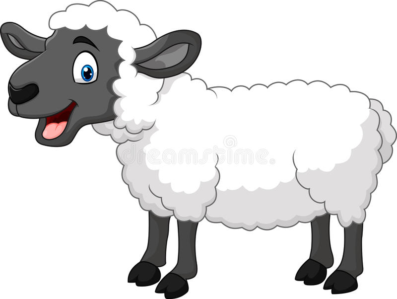 Posa felice delle pecore del fumetto isolata su fondo bianco illustrazione vettoriale