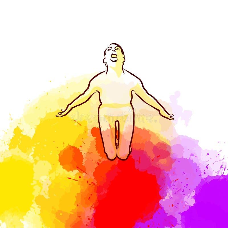 Posa spaventosa di yoga su fondo variopinto illustrazione vettoriale