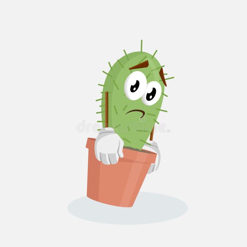 Posa triste della mascotte e del fondo del cactus illustrazione di stock