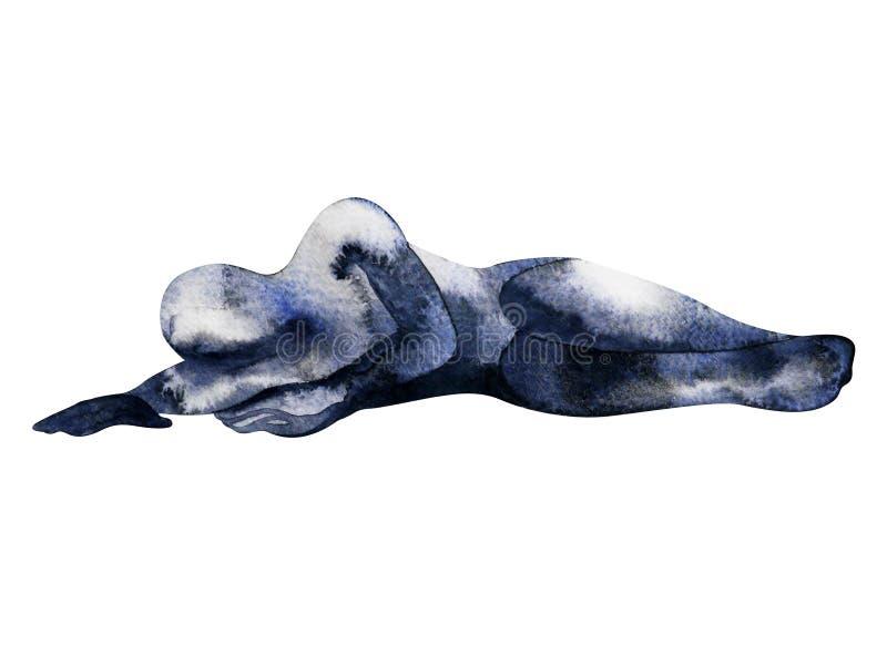 Posa umana astratta dell'acquerello di tristezza che dipinge disegnato a mano illustrazione vettoriale