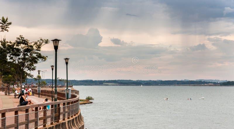 Posadas Argentina. The shore of Parana river in the city of Posadas, Argentina at sunset stock image