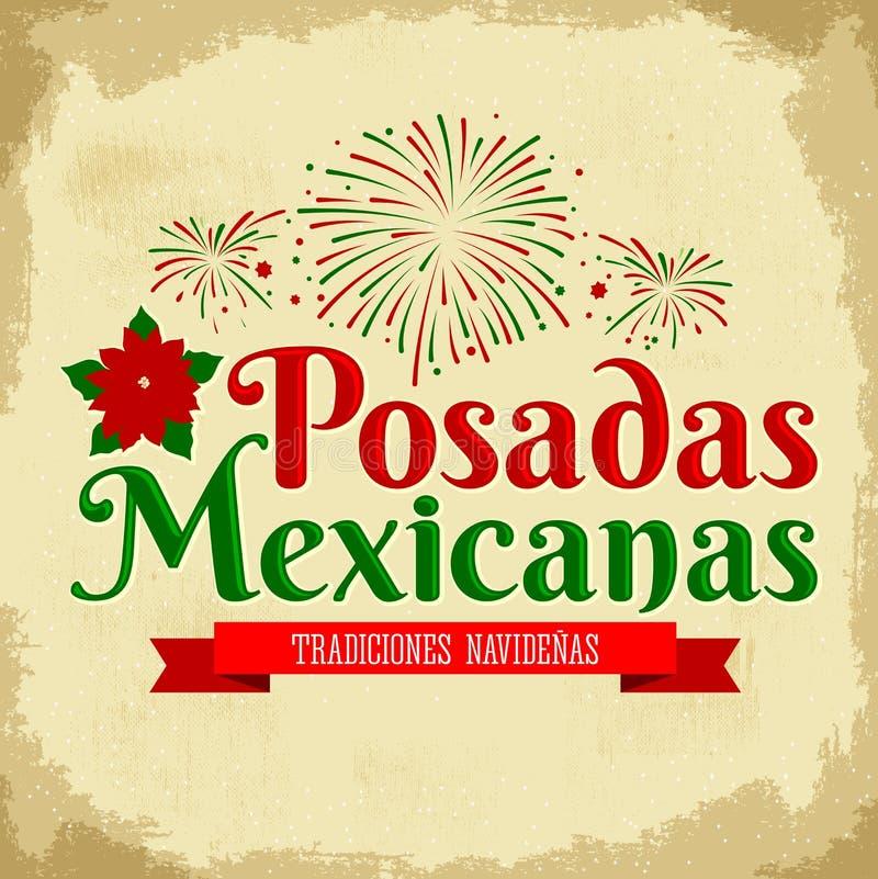 Posadas Mexicanas - spansk översättning: Jul som inkvarterar, mexicansk traditionell julberöm vektor illustrationer