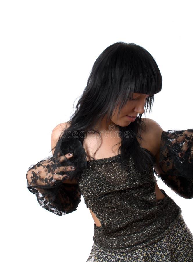 Posant la jolie femelle de brunette d'isolement photos libres de droits
