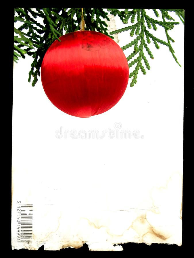 Poscard frame with red christmas ball stock images