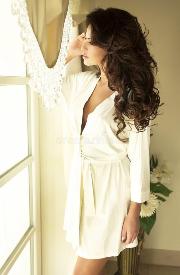 Pose attrayante de beauté de brune. images stock