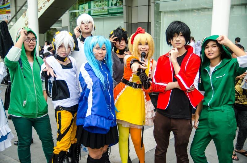 Pose cosplay do anime japonês não identificado em Japão Festa em Banguecoque 2013 imagens de stock royalty free