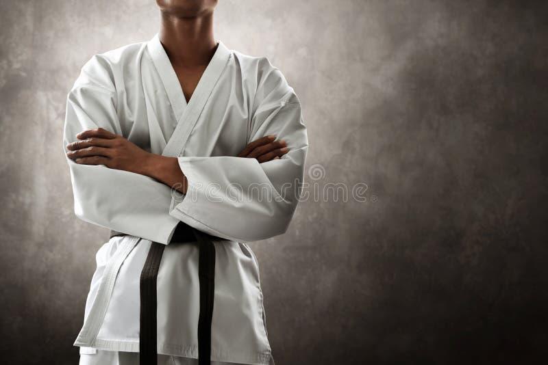 Pose d'action de combattant d'art martial photo libre de droits