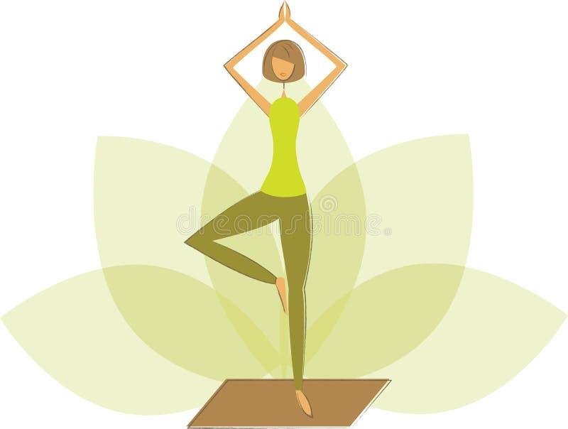 Pose d'arbre de yoga illustration de vecteur