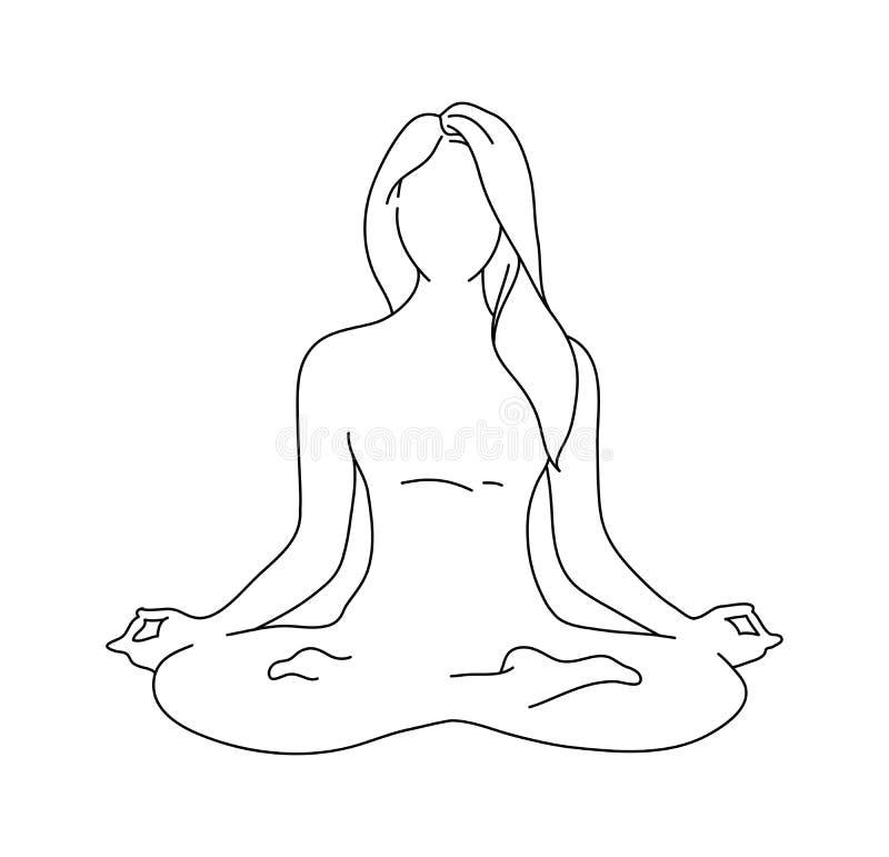 Pose da ioga da mulher silhueta da posição de lótus Ilustração do vetor Ícone do monochrome da meditação ilustração royalty free