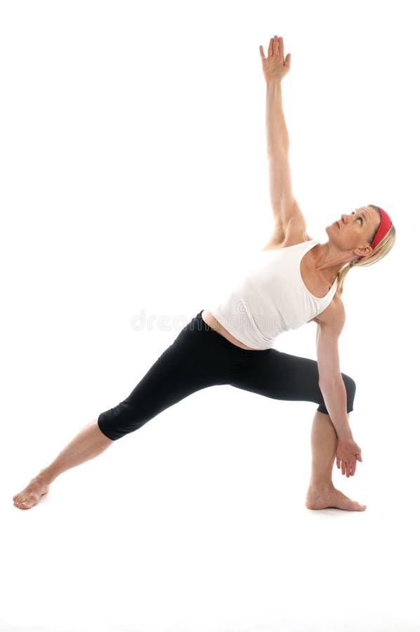 Pose da ioga do triângulo imagem de stock