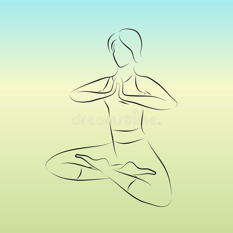Pose da ioga do vetor. ilustração stock