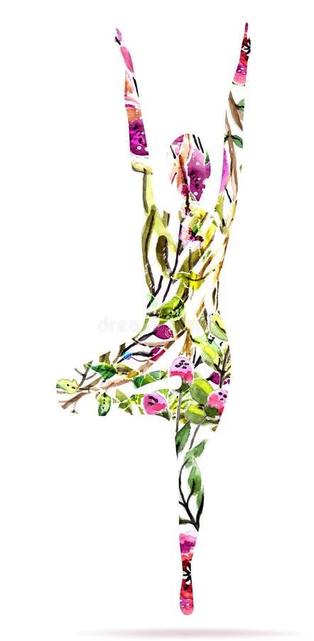 Pose da ioga, ilustração floral brilhante da aquarela ilustração stock