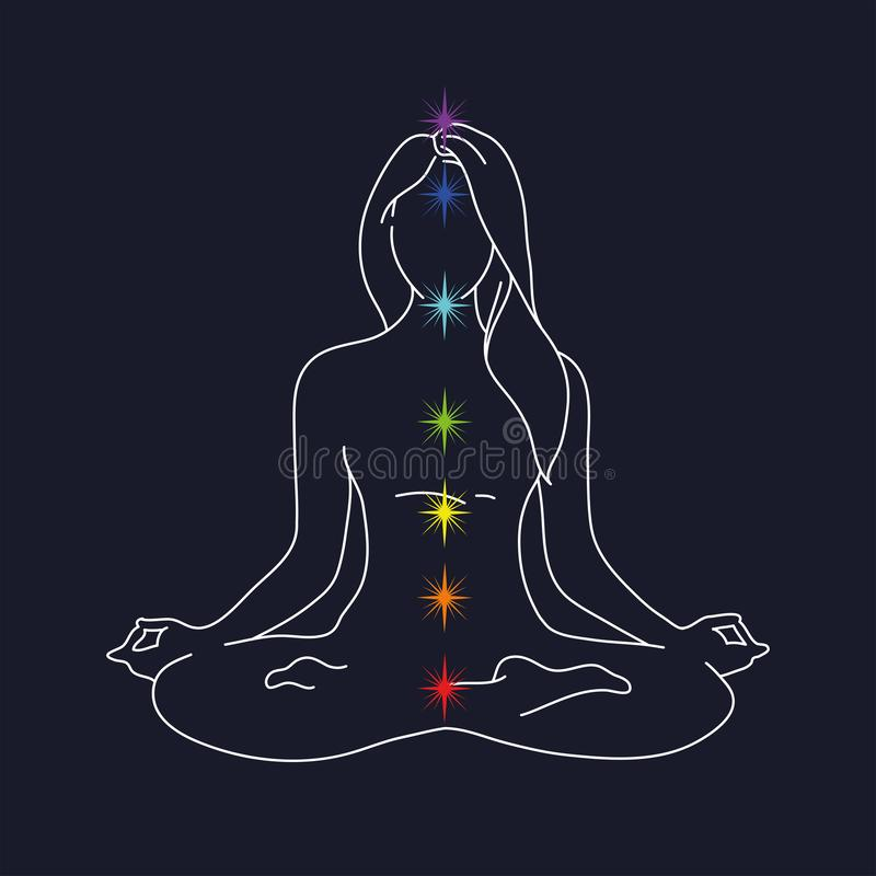 Pose da ioga da mulher silhueta da posição de lótus ilustração do vetor em um fundo azul Meditação para a divulgação dos chakras ilustração do vetor