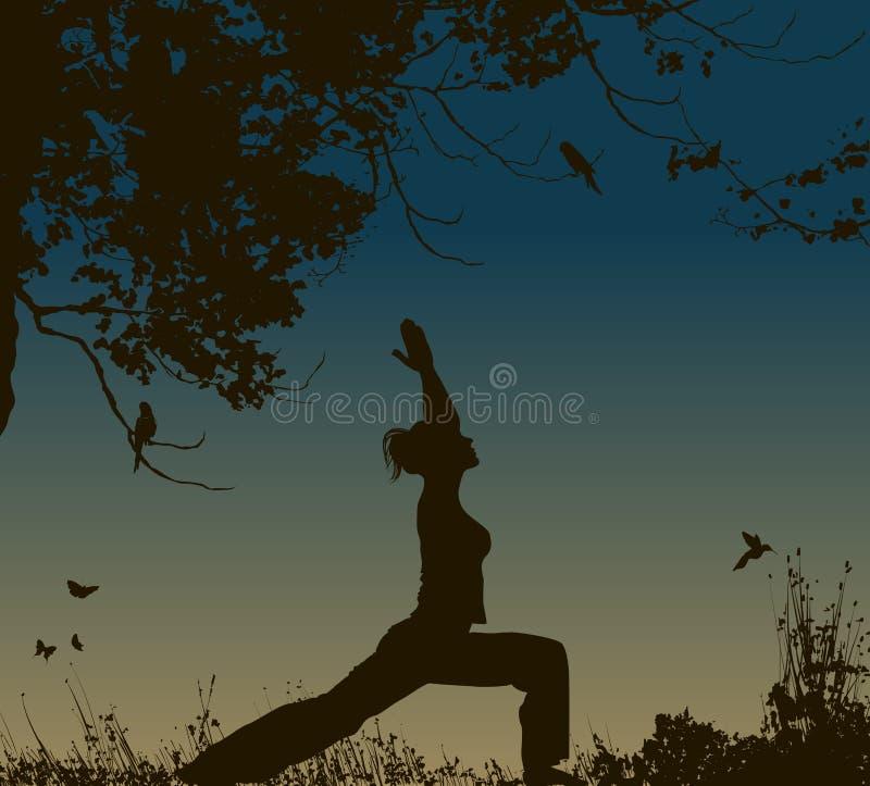 Pose da ioga no fundo do por do sol ilustração royalty free