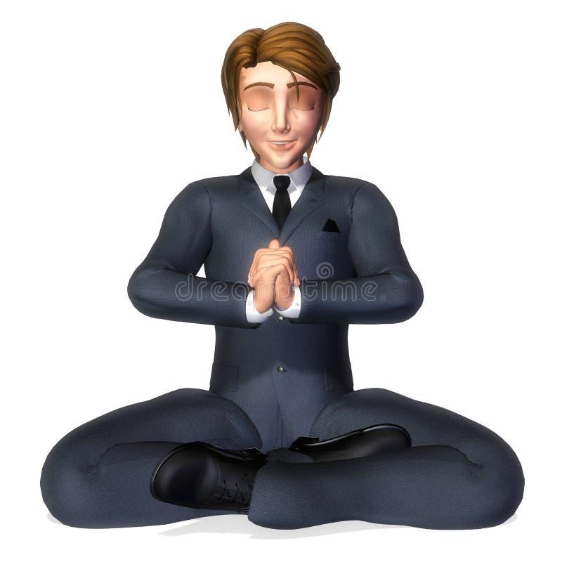 Pose da meditação dos desenhos animados do homem de negócios ilustração do vetor