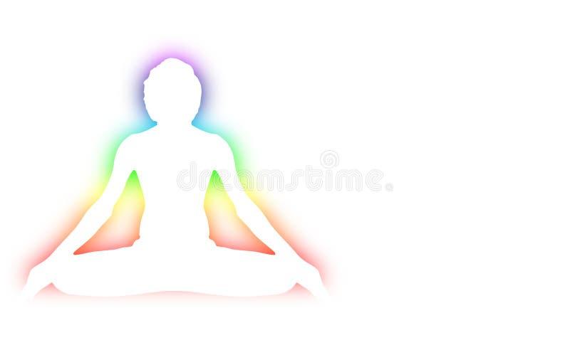 Pose da meditação da ioga com o chakra da aura de sete energias em torno do esboço branco do corpo ilustração do vetor