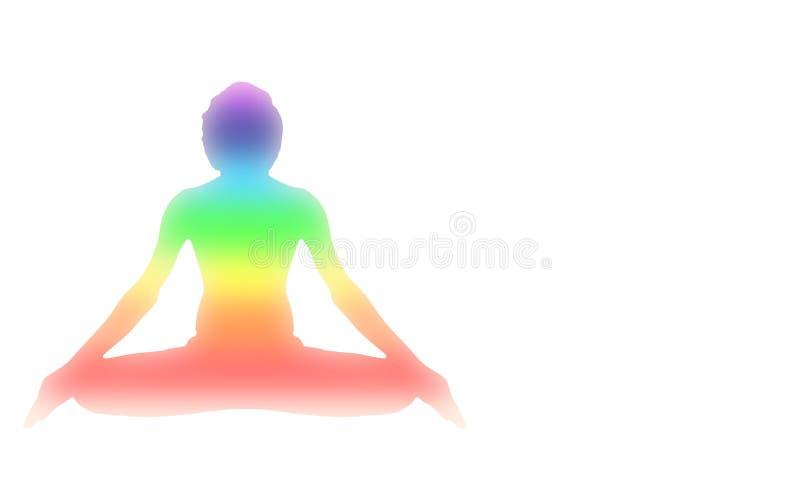 Pose da meditação da ioga com o chakra da aura de sete energias isolado no branco ilustração royalty free