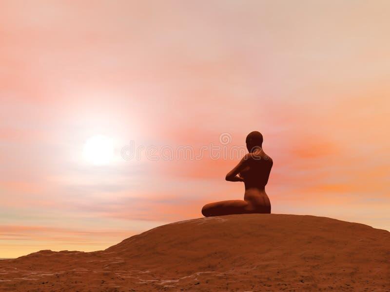 Pose da meditação, padmasana - 3D rendem ilustração royalty free