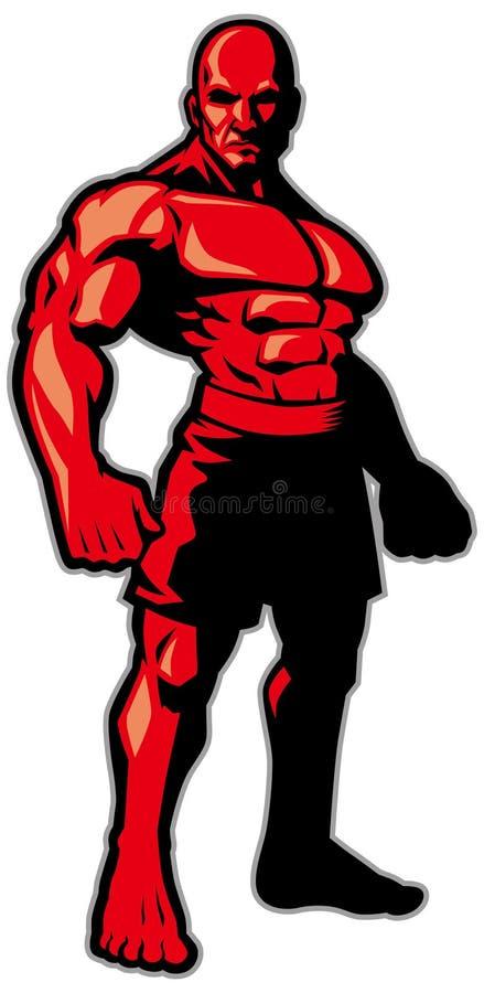 Pose da posição do lutador ilustração do vetor