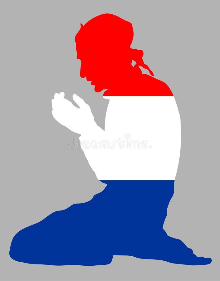 Pose da silhueta rezando do homem muçulmano Muçulmanos da Holanda, Netherland, crente na mesquita ilustração do vetor