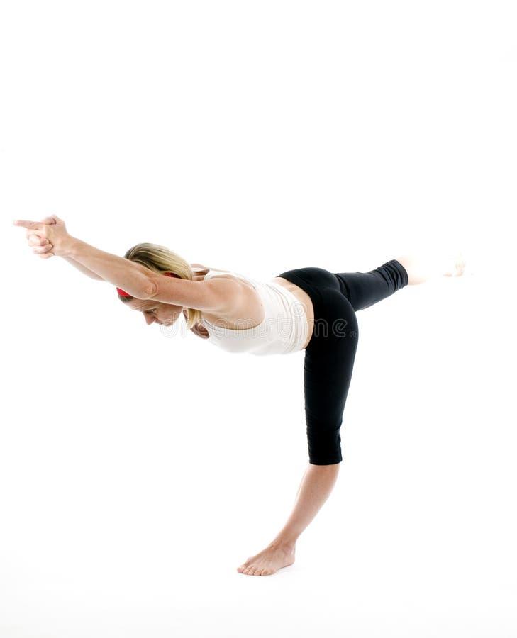Pose de équilibrage de yoga de bâton photo libre de droits