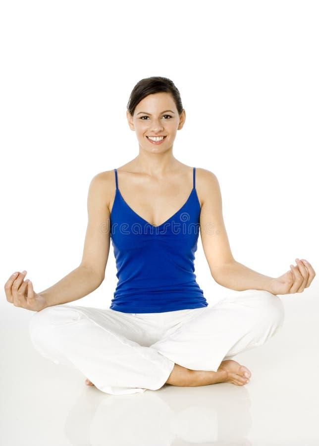 Pose de assento da ioga imagens de stock