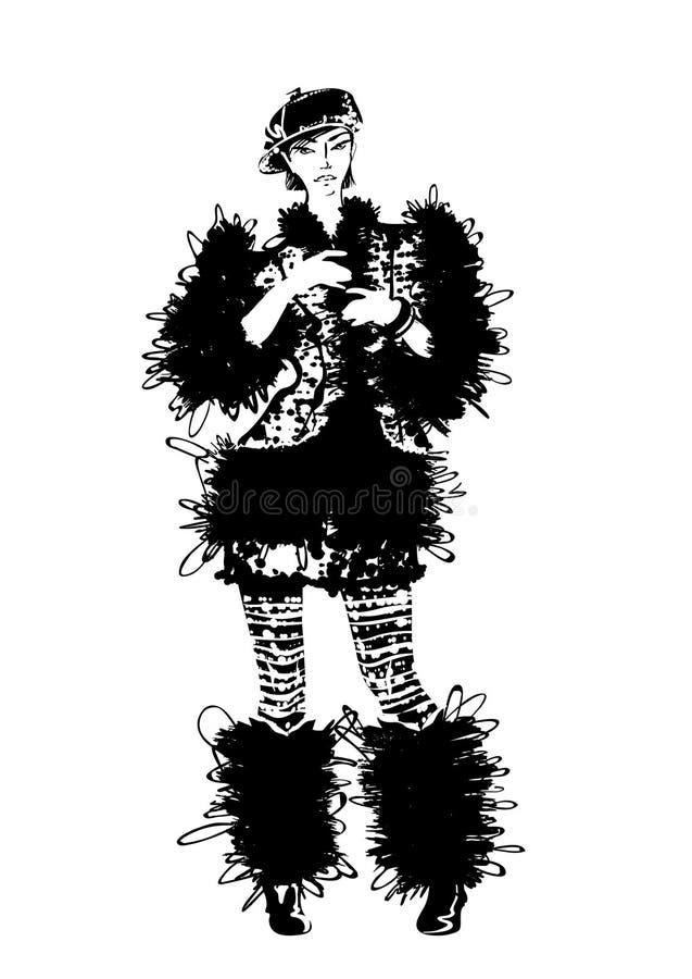 Pose de beaux jeunes femmes dans le manteau de fourrure illustration de vecteur