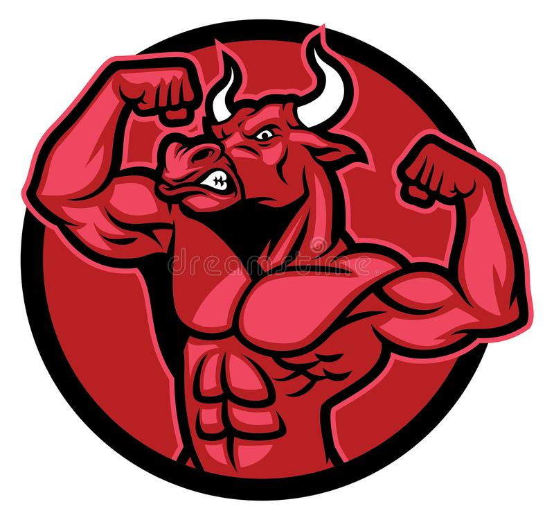 Pose de bodybuilder de Taureau et représentation de son corps musculaire illustration libre de droits