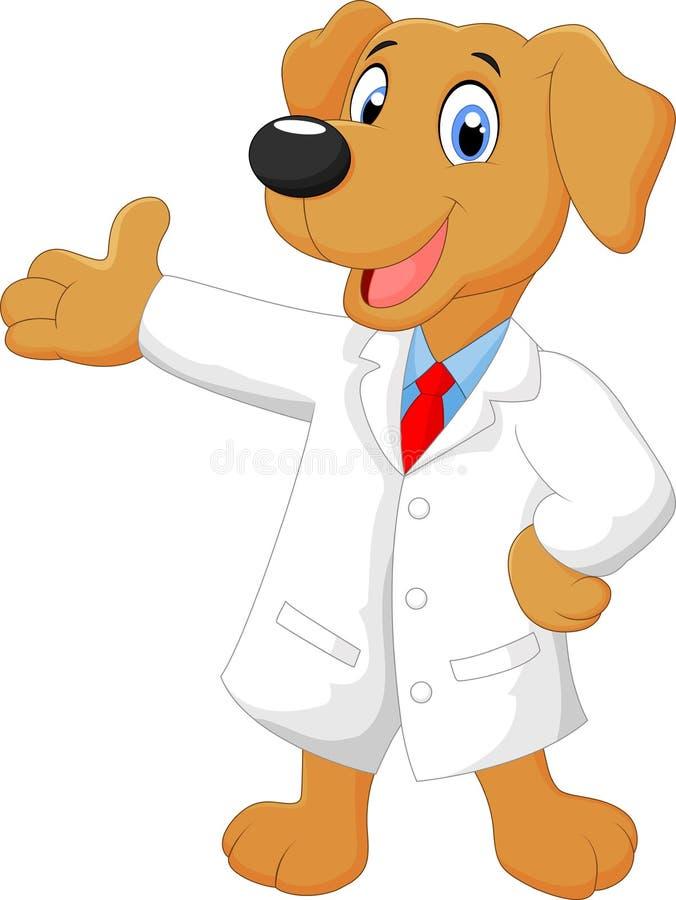 Pose de chien de docteur de carton illustration de vecteur