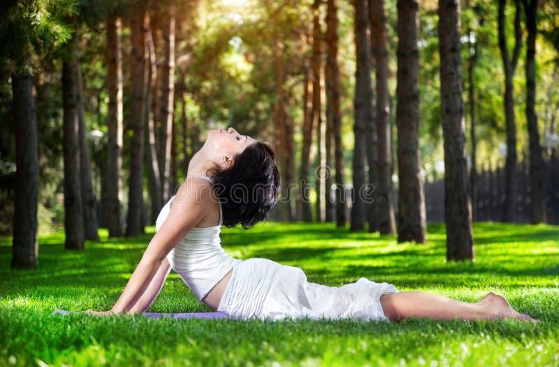 Pose de cobra de yoga en stationnement image stock