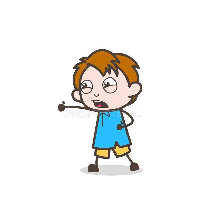Pose de combat de karaté de judo - vecteur mignon d'enfant de bande dessinée illustration libre de droits