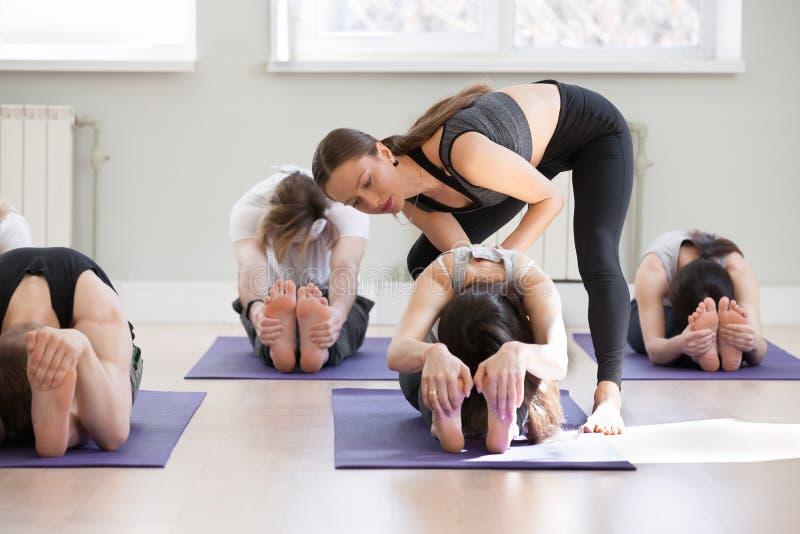 Pose de enseignement de paschimottanasana de jeune instructeur féminin de yoga photos stock