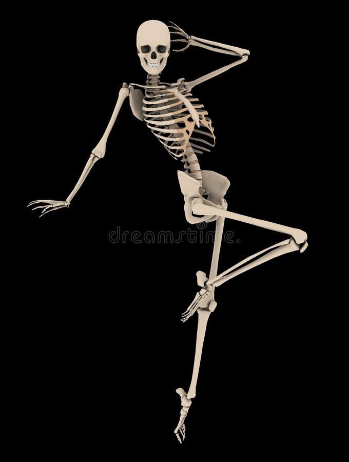Pose de esqueleto fêmea da forma com trajeto de grampeamento ilustração royalty free