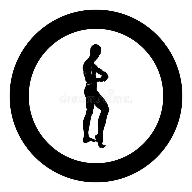 Pose de l'illustration de couleur de noir d'icône de concept de bodybuilding de silhouette de bodybuilder dans le rond de cercle illustration stock