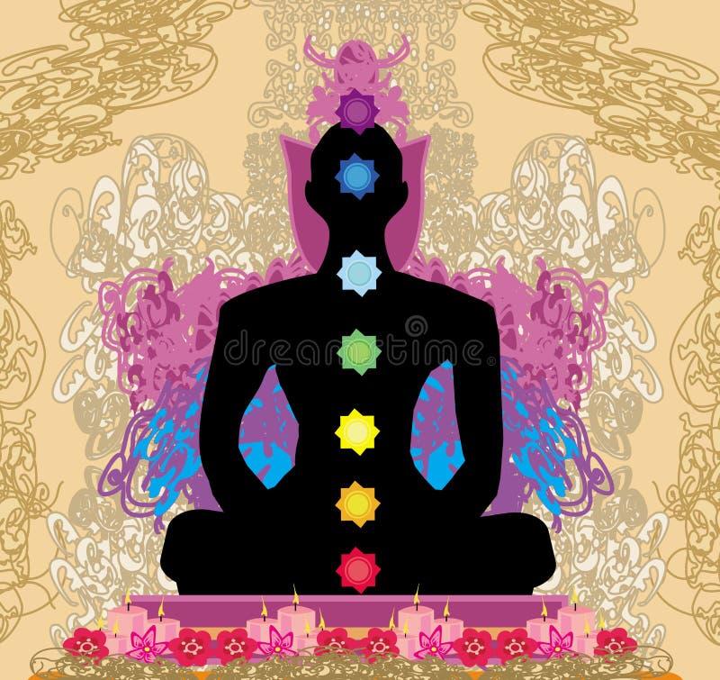 Pose de lotus de YOGA Padmasana avec des points de chakra illustration stock