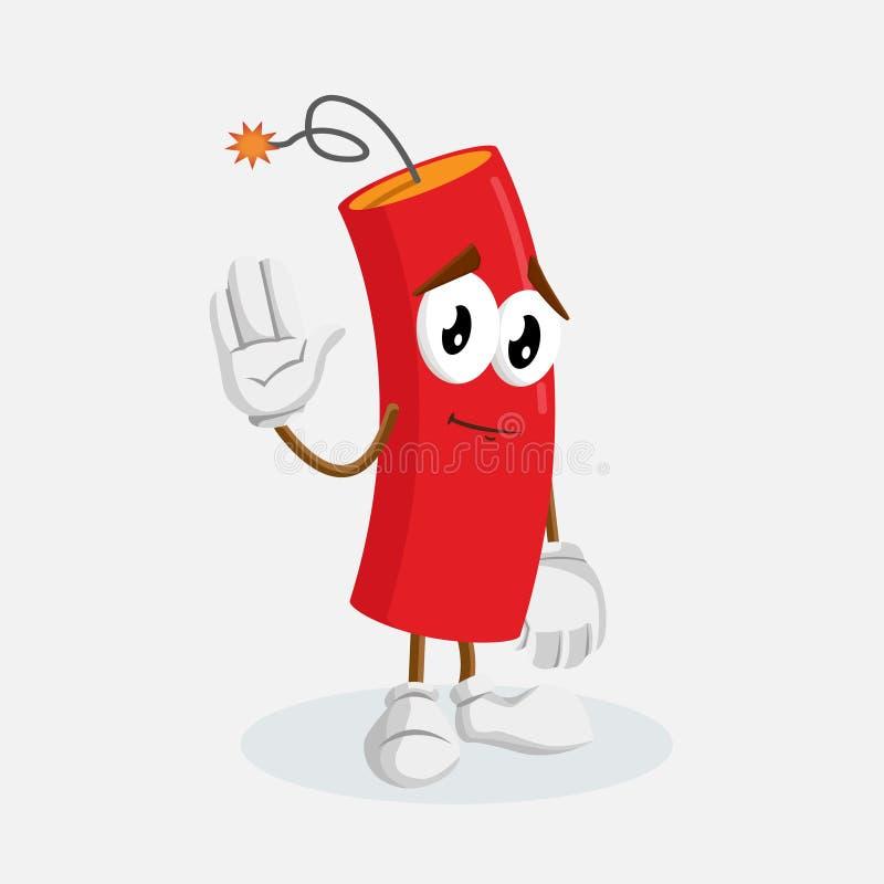 Pose de mascotte et de fond de dynamite au revoir illustration stock