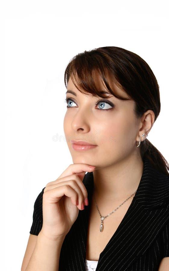 Pose de pensamento da mulher de negócios fotos de stock royalty free